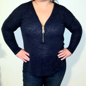 Soft Surroundings   Navy Knit Zip up Blouse
